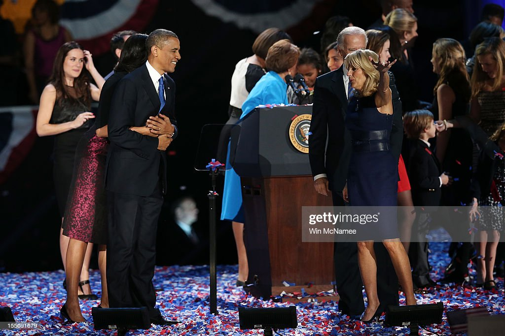 U.S. President <a gi-track='captionPersonalityLinkClicked' href=/galleries/search?phrase=Barack+Obama&family=editorial&specificpeople=203260 ng-click='$event.stopPropagation()'>Barack Obama</a> stands on stage with first lady <a gi-track='captionPersonalityLinkClicked' href=/galleries/search?phrase=Michelle+Obama&family=editorial&specificpeople=2528864 ng-click='$event.stopPropagation()'>Michelle Obama</a>, U.S. Vice President Joe Biden and Dr. <a gi-track='captionPersonalityLinkClicked' href=/galleries/search?phrase=Jill+Biden&family=editorial&specificpeople=997040 ng-click='$event.stopPropagation()'>Jill Biden</a> after his victory speech on election night at McCormick Place November 6, 2012 in Chicago, Illinois. Obama won reelection against Republican candidate, former Massachusetts Governor Mitt Romney.