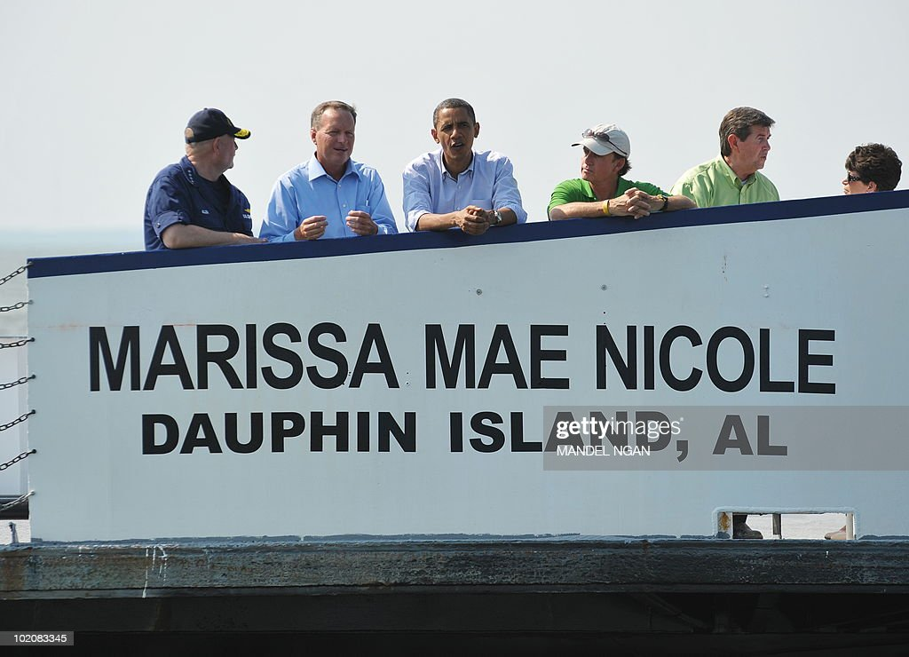 US President Barack Obama stands on the deck of a ferry as he travels from Dauphin Island, Alabama to Fort Morgan, Alabama June 14, 2010. AFP PHOTO/Mandel NGAN