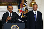 President Barack Obama stands with Attorney General Eric H Holder Jr who announced his resignation today September 25 2014 in Washington DC President...