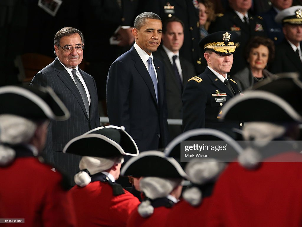 U.S. President <a gi-track='captionPersonalityLinkClicked' href=/galleries/search?phrase=Barack+Obama&family=editorial&specificpeople=203260 ng-click='$event.stopPropagation()'>Barack Obama</a> (C) stands with Defense Secretary Leon Panetta (L) and U.S. Army Gen. Martin E. Dempsey, chairman of the joint chiefs of staff, during an armed services farewell ceremony for Sec. Panetta at Joint Base Ft. Myer, on February 8, 2013 in Arlington, Virginia. If confirmed by the U.S. Senate, former U.S. Sen. Chuck Hagel (R-NE) will replace Panetta.