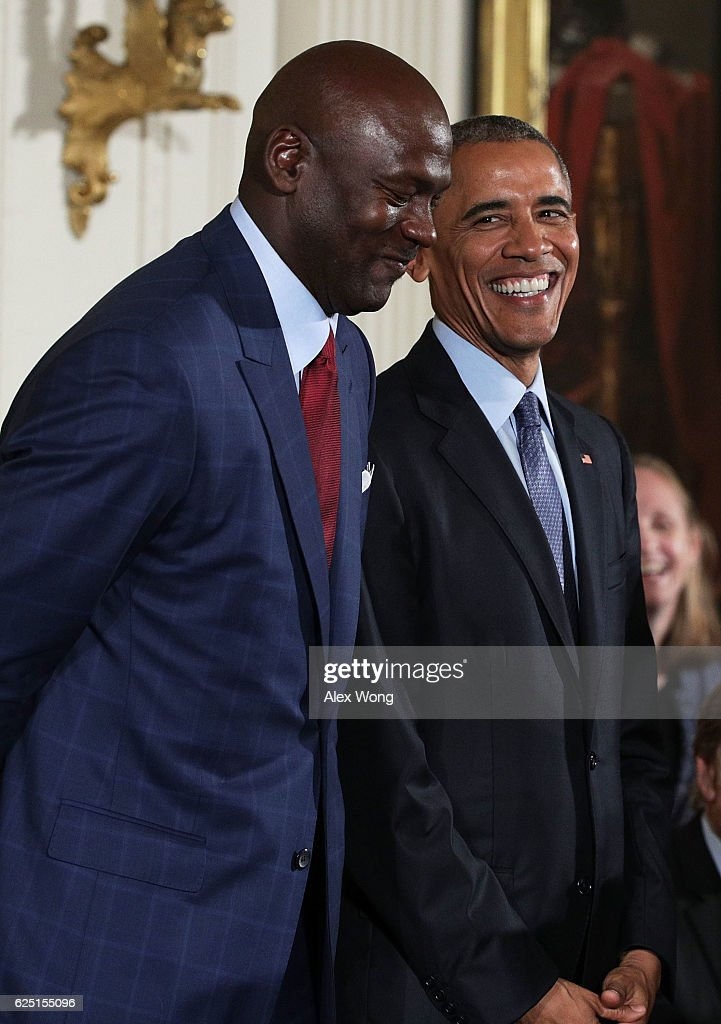 U.S. President Barack Obama stands with former NBA player Michael Jordan during the Presidential Medal of Freedom presentation ceremony at the East Room of the White House November 22, 2016 in Washington, DC. The Presidential Medal of Freedom is the highest honor for civilians in the United States of America.