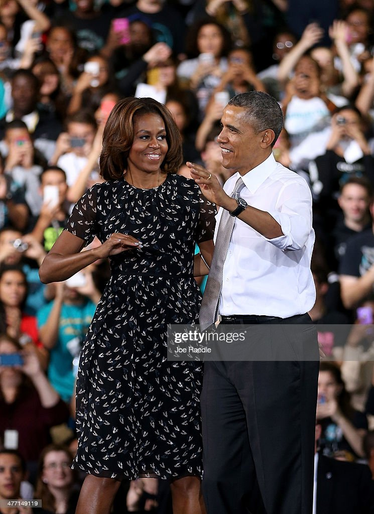 U.S. President <a gi-track='captionPersonalityLinkClicked' href=/galleries/search?phrase=Barack+Obama&family=editorial&specificpeople=203260 ng-click='$event.stopPropagation()'>Barack Obama</a> stands with <a gi-track='captionPersonalityLinkClicked' href=/galleries/search?phrase=Michelle+Obama&family=editorial&specificpeople=2528864 ng-click='$event.stopPropagation()'>Michelle Obama</a> after speaking during an event at Coral Reef Senior High on March 7, 2014 in Miami, Florida. Obama announced a program that will allow students an easier way to complete the Free Application for Federal Student Aid.