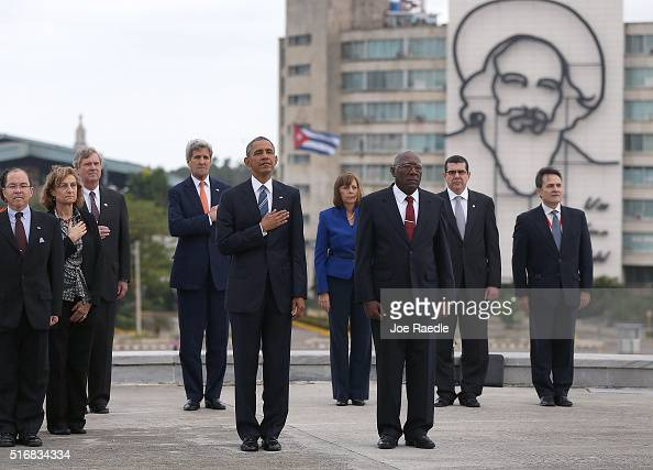 President Barack Obama stands with Salvador Sanchez Mesa Vice President of the Council of Ministry as they take part in a wreath laying ceremony at...