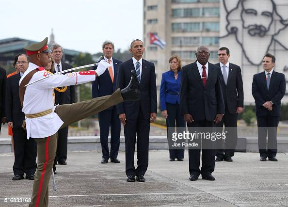 President Barack Obama stands with Salvador Valdez Mesa Vice President of the Council of Ministry as they take part in a wreath laying ceremony at...