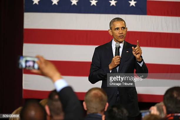 President Barack Obama stops at the Hoogland Center for the Arts in Springfield Ill following his speech at the Illinois State Capitol on Wednesday...