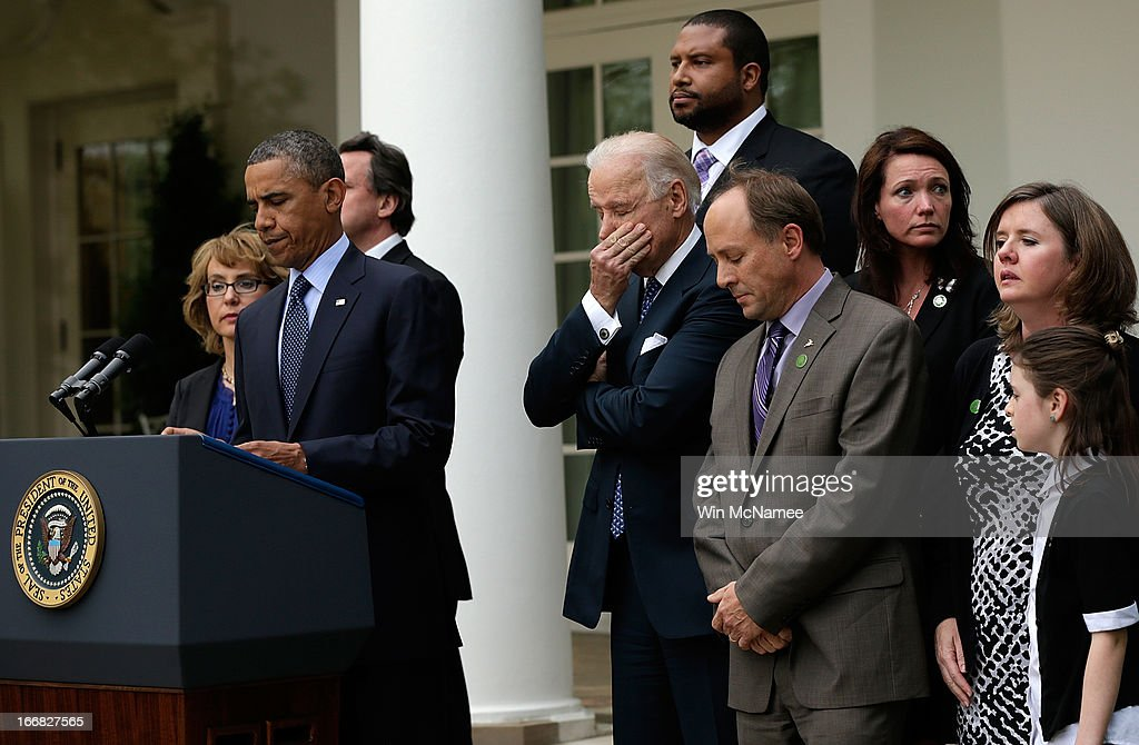 U.S. President Barack Obama, surrounded by family members of victims of gun violence, makes a statement in the Rose Garden of the White House with Vice President Joe Biden on April 17, 2013 in Washington, DC. Earlier today the Senate defeated a bi-partisan measure to expand background checks for gun sales. Also pictured (L) is former Rep. Gabby Giffords.