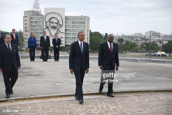 S President Barack Obama takes part in a wreath laying ceremony with Salvador Valdes Mesa Vice President of the Council of Ministry at the Jose Marti...