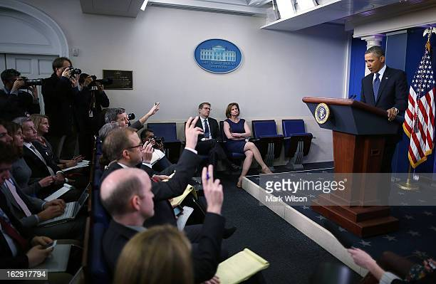S President Barack Obama takes questions from reporters while speaking to the media after a meeting with Congressional leaders at the White House...