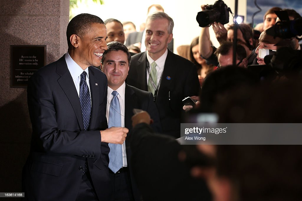 U.S. President <a gi-track='captionPersonalityLinkClicked' href=/galleries/search?phrase=Barack+Obama&family=editorial&specificpeople=203260 ng-click='$event.stopPropagation()'>Barack Obama</a> (L) talks to members of the media at the U.S. Capitol after a meeting with the House Republican Conference March 13, 2013 on Capitol Hill in Washington, DC. President traveled to the Hill to meet with Republican House members in a closed meeting.
