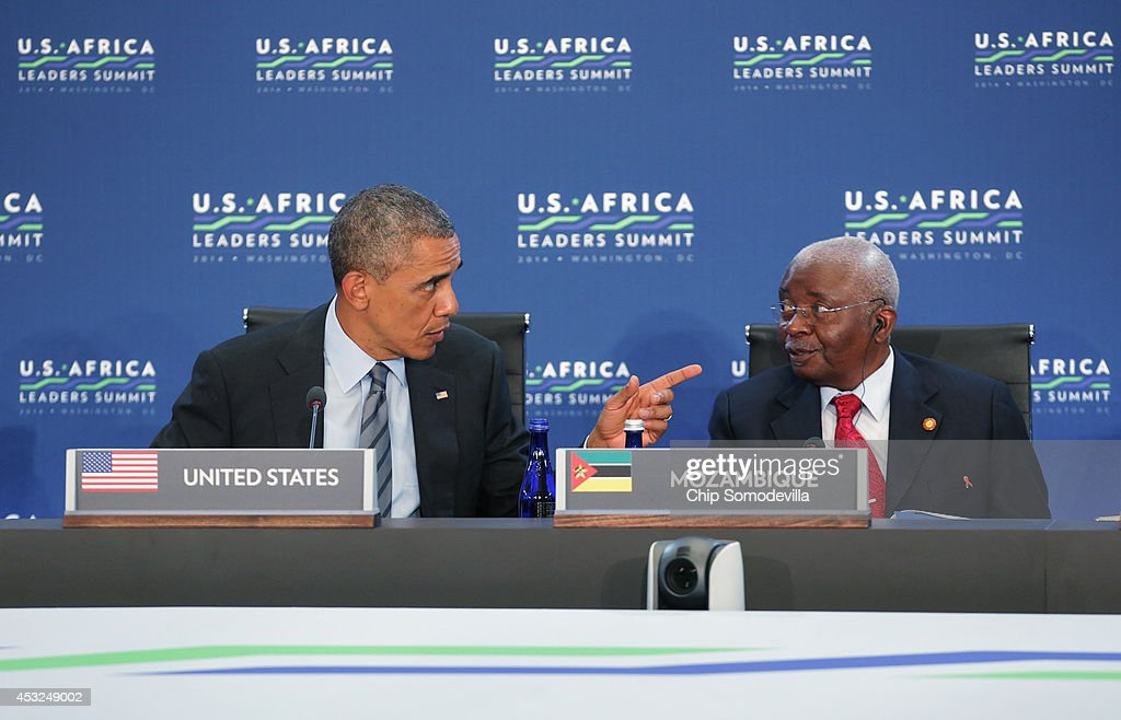 U.S. President <a gi-track='captionPersonalityLinkClicked' href=/galleries/search?phrase=Barack+Obama&family=editorial&specificpeople=203260 ng-click='$event.stopPropagation()'>Barack Obama</a> (L) talks to President of Mozambique <a gi-track='captionPersonalityLinkClicked' href=/galleries/search?phrase=Armando+Guebuza&family=editorial&specificpeople=569903 ng-click='$event.stopPropagation()'>Armando Guebuza</a> (R) during the first pleanery meeting of the U.S.-Africa Leaders Summit at the State Department August 6, 2014 in Washington, DC. Obama hosted last day of the first-ever summit to strengthen ties between the United States and African nations.
