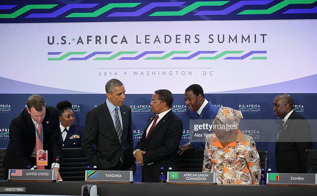 U.S. President Barack Obama (3rd L) talks to President of Tanzania Jakaya Mrisho Kikwete (4th L) as President of Benin Boni Yayi (5th L), chair of the African Union Commissionprior Nkosazana Clarice Dlamini Zuma (6th L), look on prior to a session during the U.S.-Africa Leaders Summit August 6, 2014 at the State Department in Washington, DC. President Obama hosted the last day of the first-ever summit to strengthen ties between the United States and African nations.