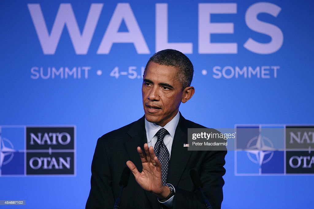 President Barack Obama talks to reporters at the end of the NATO Summit on September 5 2014 in Newport Wales Leaders and senior ministers from around...