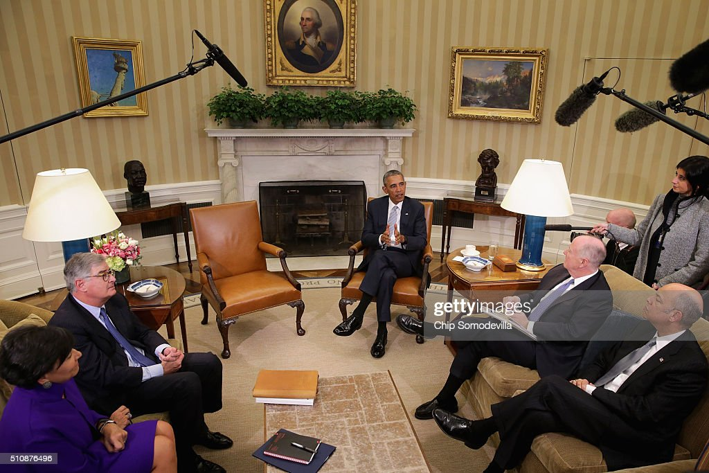 U.S. President <a gi-track='captionPersonalityLinkClicked' href=/galleries/search?phrase=Barack+Obama&family=editorial&specificpeople=203260 ng-click='$event.stopPropagation()'>Barack Obama</a> talks to reporters with (L-R) Commerce Secretary <a gi-track='captionPersonalityLinkClicked' href=/galleries/search?phrase=Penny+Pritzker&family=editorial&specificpeople=5616259 ng-click='$event.stopPropagation()'>Penny Pritzker</a>, former IBM CEO Sam Palmisano, former White House National Security Advisor <a gi-track='captionPersonalityLinkClicked' href=/galleries/search?phrase=Tom+Donilon&family=editorial&specificpeople=4012503 ng-click='$event.stopPropagation()'>Tom Donilon</a> and Homeland Security Secretary <a gi-track='captionPersonalityLinkClicked' href=/galleries/search?phrase=Jeh+Johnson&family=editorial&specificpeople=5862084 ng-click='$event.stopPropagation()'>Jeh Johnson</a> in the Oval Office at the White House February 17, 2016 in Washington, DC. Obama announced his appointment of Donilon as the chair of the newly-created Commission on Enhancing National Cybersecurity and Palmisano as his deputy.