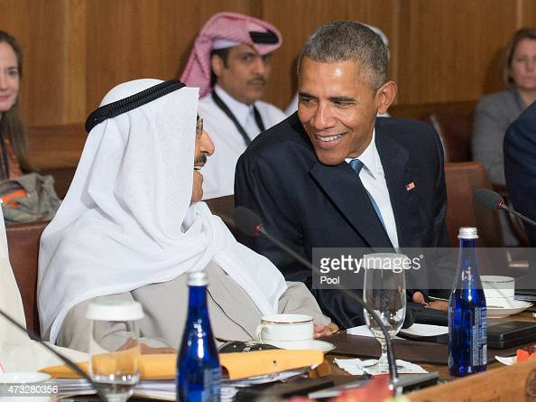 S President Barack Obama talks to Sheikh Sabah AlAhmed AlJaber AlSabah Amir of the State of Kuwait during a working lunch at the Gulf Cooperation...