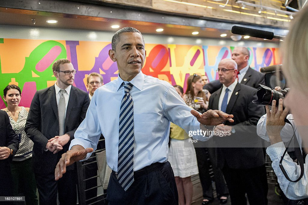 U.S. President <a gi-track='captionPersonalityLinkClicked' href=/galleries/search?phrase=Barack+Obama&family=editorial&specificpeople=203260 ng-click='$event.stopPropagation()'>Barack Obama</a> talks to the media at Taylor Gourmet on Pennsylvania Avenue after walking from the White House for a take-out lunch October 4, 2013 in Washington, DC. Democrats and Republicans are still at a stalemate on funding for the federal government as the shutdown goes into the fourth day. The deli, like many other eateries in Washington, is currently offering a discount for furloughed federal workers.
