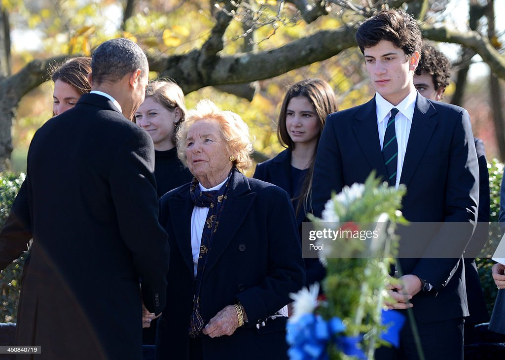 U.S. President Barack Obama (2nd L) talks with Ethel Kennedy (C) as John 'Jack' Schlossberg (2nd R) looks on after a wreath laying ceremony at the grave site for President John F. Kennedy at Arlington National Cemetery November 20, 2013 in Arlington, Virginia. The 50th anniversary of the assassination of John F. Kennedy will be marked on November 22.