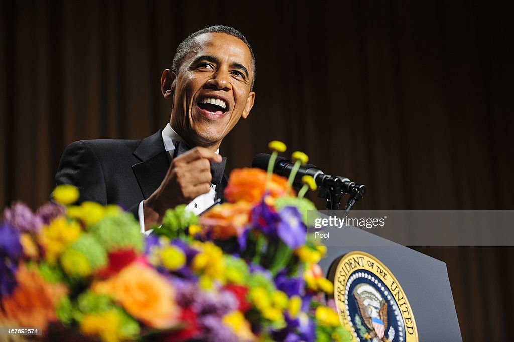 U.S. President Barack Obama tells jokes poking fun at himself as well as others during the White House Correspondents' Association Dinner on April 27, 2013 in Washington, DC. The dinner is an annual event attended by journalists, politicians and celebrities.