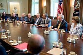 US President Barack Obama third from right holds a meeting with members of Congress on foreign policy including Senator Dianne Feinstein a Democrat...