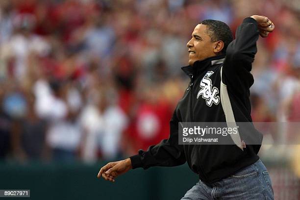 S President Barack Obama throws out the first pitch at the 2009 MLB AllStar Game at Busch Stadium on July 14 2009 in St Louis Missouri