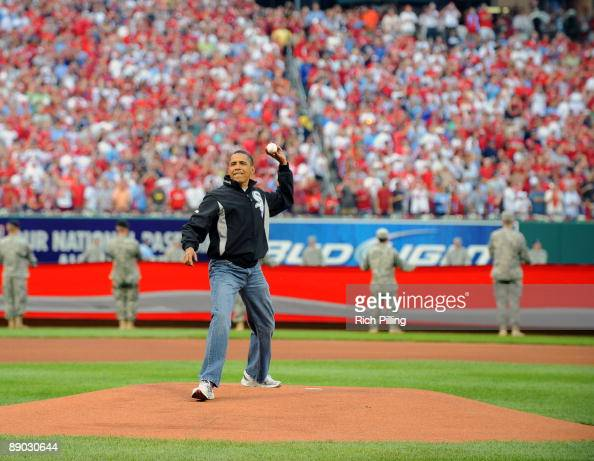 S President Barack Obama throws out the first pitch before the 2009 AllStar Game at Busch Stadium July 14 2009 in St Louis Missouri The American...
