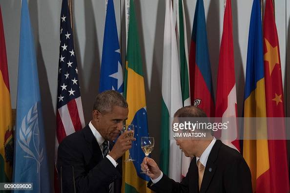 US President Barack Obama toasts UN Secretary General Ban KiMoon during a luncheon on the sidelines of the 71st session of the United Nations General...