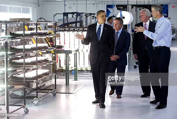 US President Barack Obama tours Cree Inc a manufacturer of energy efficient LED lighting in Durham North Carolina June 13 prior to speaking about the...
