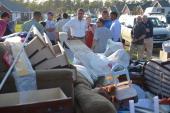 US President Barack Obama tours damage caused by Hurricane Isaac in LaPlace in Saint John the Baptist Parish Louisiana September 3 2012 AFP...