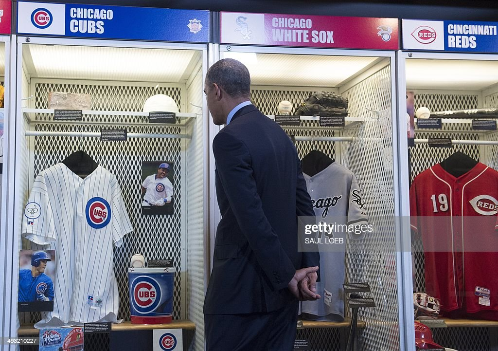 US President Barack Obama tours of the National Baseball Hall of Fame and Museum in Cooperstown New York May 22 2014 Obama the first sitting US...