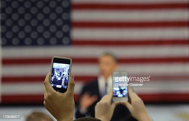President Barack Obama unveils a plan to connect nearly every US classroom to highspeed Internet during a speech at Mooresville Middle School in...