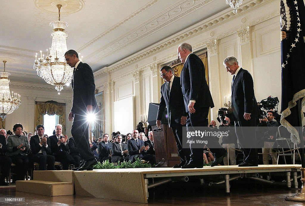 U.S. President Barack Obama, U.S. Secretary of Defense Leon Panetta, Deputy National Security Advisor for Homeland Security and Counterterrorism John Brennan and former U.S. Sen. Chuck Hagel (R-NE) leave at the end of a personnel announcement in the East Room at the White House, on January 7, 2013 in Washington, DC. Obama has nominated Hagel for the next Secretary of Defense and Brennan to become the new director of the CIA.