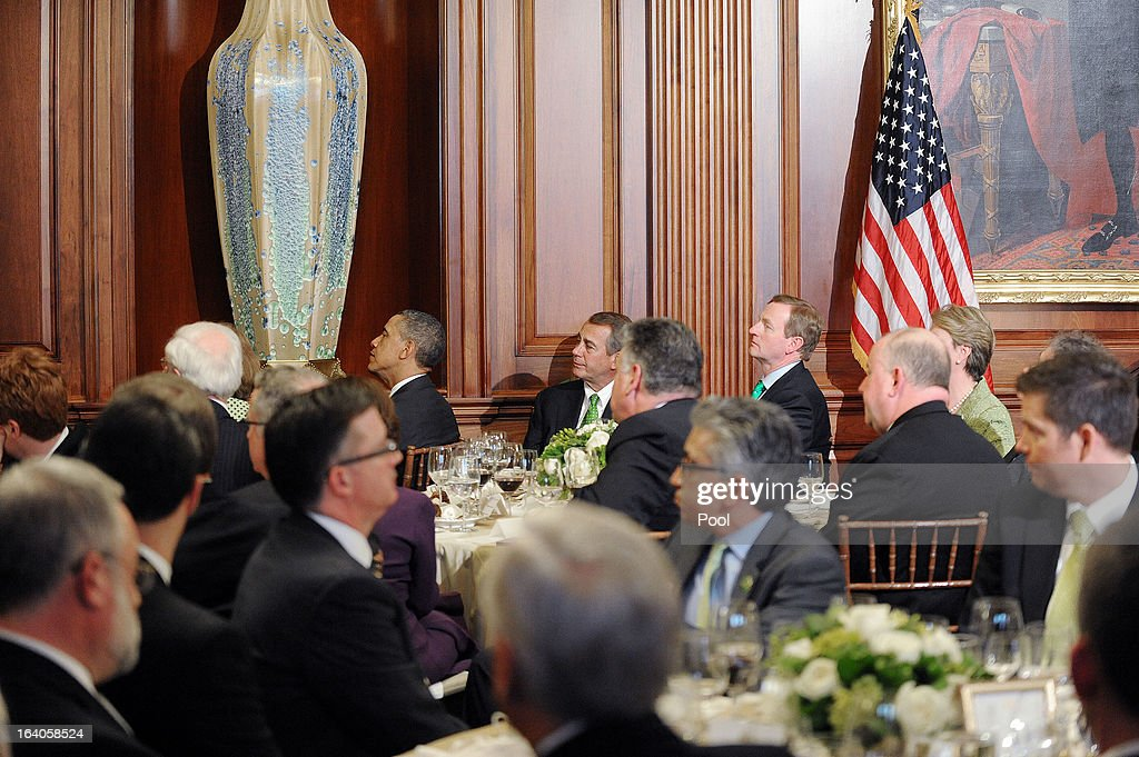 U.S. President Barack Obama (L), U.S. Speaker of the House John Boehner (R-OH) (C) and Irish Prime Minister Edna Kenny (R) attend a Friends of Ireland luncheon at the U.S. Capitol March 19, 2013 in Washington, DC. Obama, Boehner and Kenny attended the annual Friends of Ireland luncheon, which usually coincides with St. Patricks's Day, hosted by the House of Representatives at the U.S. Capitol.