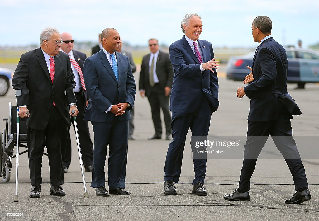 President Barack Obama visited Boston on behalf of Congressman Ed Markey. Mayor Thomas M. Menino, Gov. Deval Patrick and Markey greeted Obama at Logan International Airport upon his arrival. President Barack Obama visited Boston on behalf of Congressman Ed Markey, who is running for the open U.S. Senate seat vacated by Secretary of State John Kerry. The President was in town to attend a rally at the Reggie Lewis Track and Athletic Center.