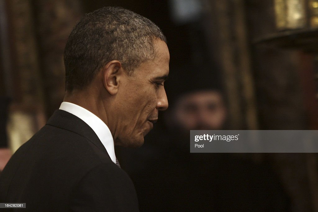 U.S. President Barack Obama visits the Church of the Nativity on March 22, 2013 in Bethlehem, West Bank. This is Obama's first visit as president to the region and his itinerary includes meetings with the Palestinian and Israeli leaders as well as a visit to the Church of the Nativity in Bethlehem.