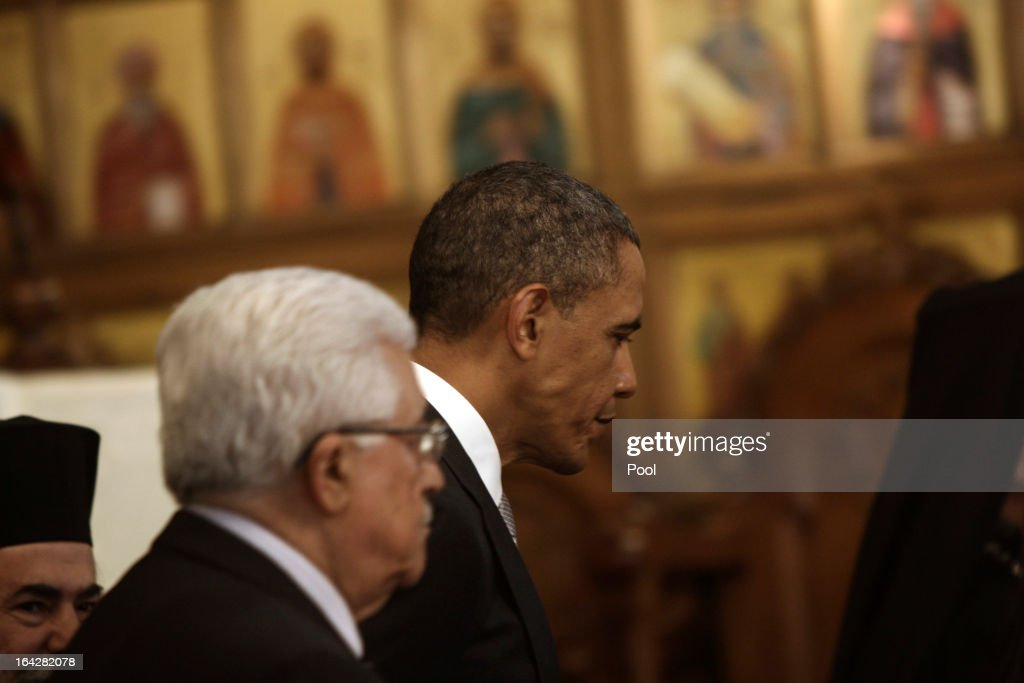 U.S. President Barack Obama (R) visits the Church of the Nativity with Palestinian President Mahmoud Abbas on March 22, 2013 in Bethlehem, West Bank. This is Obama's first visit as president to the region and his itinerary includes meetings with the Palestinian and Israeli leaders as well as a visit to the Church of the Nativity in Bethlehem.