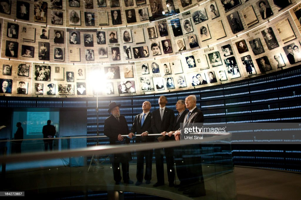 U.S. President Barack Obama visits the Hall of Names at the Yad Vashem Holocaust Memorial museum with (L-R) Rabbi Yisrael Meir Lau, Israel's Prime Minster Benjamin Netanyahu, Chairman of the Yad Vashem Directorate Avner Shalev and Israel's President Shimon Peres on March 22, 2013 in Jerusalem, Israel. This is Obama's first visit as president to the region and his itinerary includes meetings with the Palestinian and Israeli leaders as well as a visit to the Church of the Nativity in Bethlehem.
