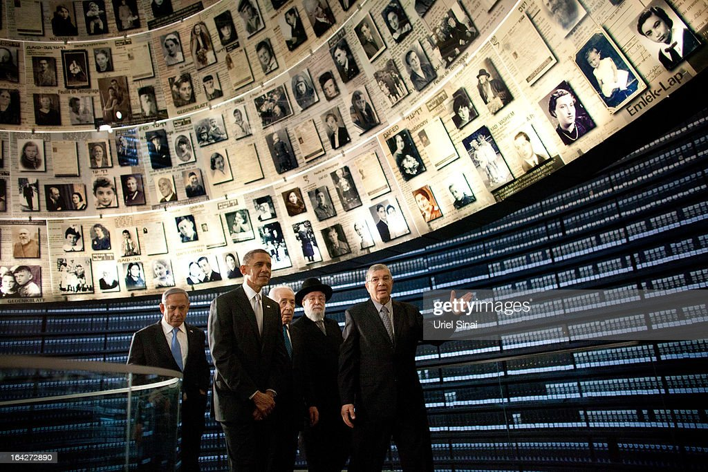 U.S. President Barack Obama visits the Hall of Names at the Yad Vashem Holocaust Memorial museum with (L-R) Israel's Prime Minster Benjamin Netanyahu, Israel's President Shimon Peres, Rabbi Yisrael Meir Lau and Chairman of the Yad Vashem Directorate Avner Shalev on March 22, 2013 in Jerusalem, Israel. This is Obama's first visit as president to the region and his itinerary includes meetings with the Palestinian and Israeli leaders as well as a visit to the Church of the Nativity in Bethlehem.