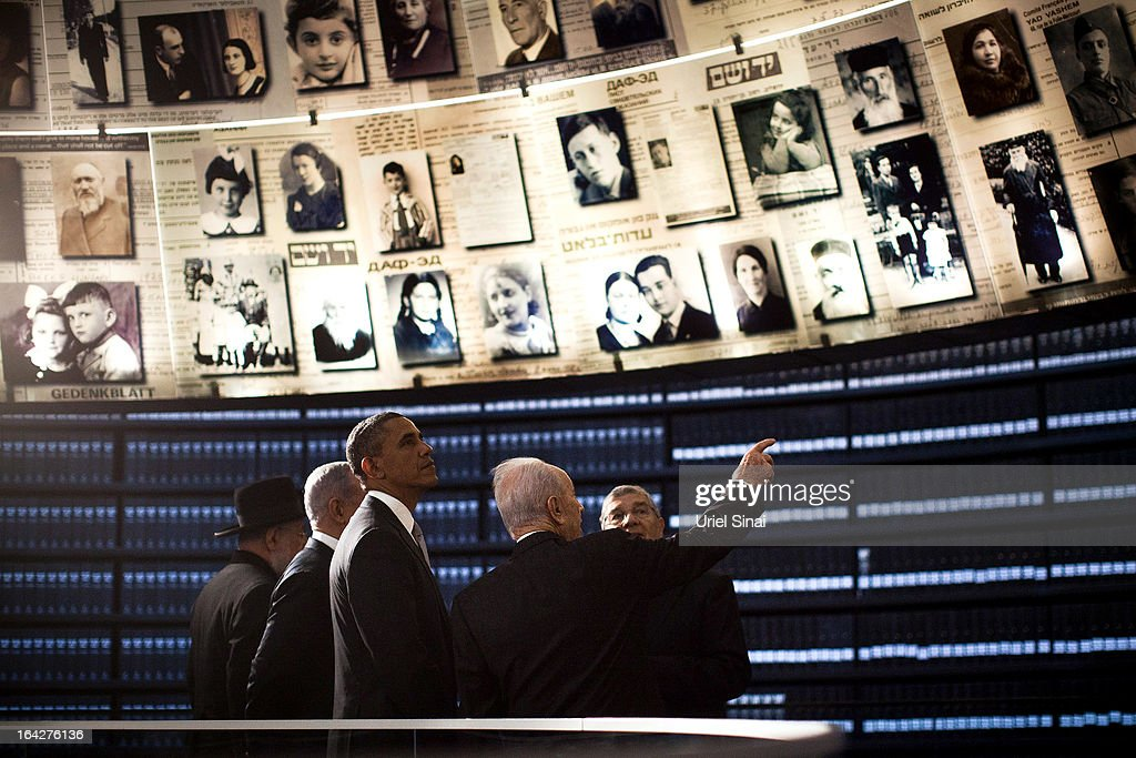 U.S. President Barack Obama visits the Hall of Names at the Yad Vashem Holocaust Memorial museum with Rabbi Yisrael Meir Lau, Israel's Prime Minster Benjamin Netanyahu, Chairman of the Yad Vashem Directorate Avner Shalev and Israel's President Shimon Peres on March 22, 2013 in Jerusalem, Israel. This is Obama's first visit as president to the region and his itinerary includes meetings with the Palestinian and Israeli leaders as well as a visit to the Church of the Nativity in Bethlehem.