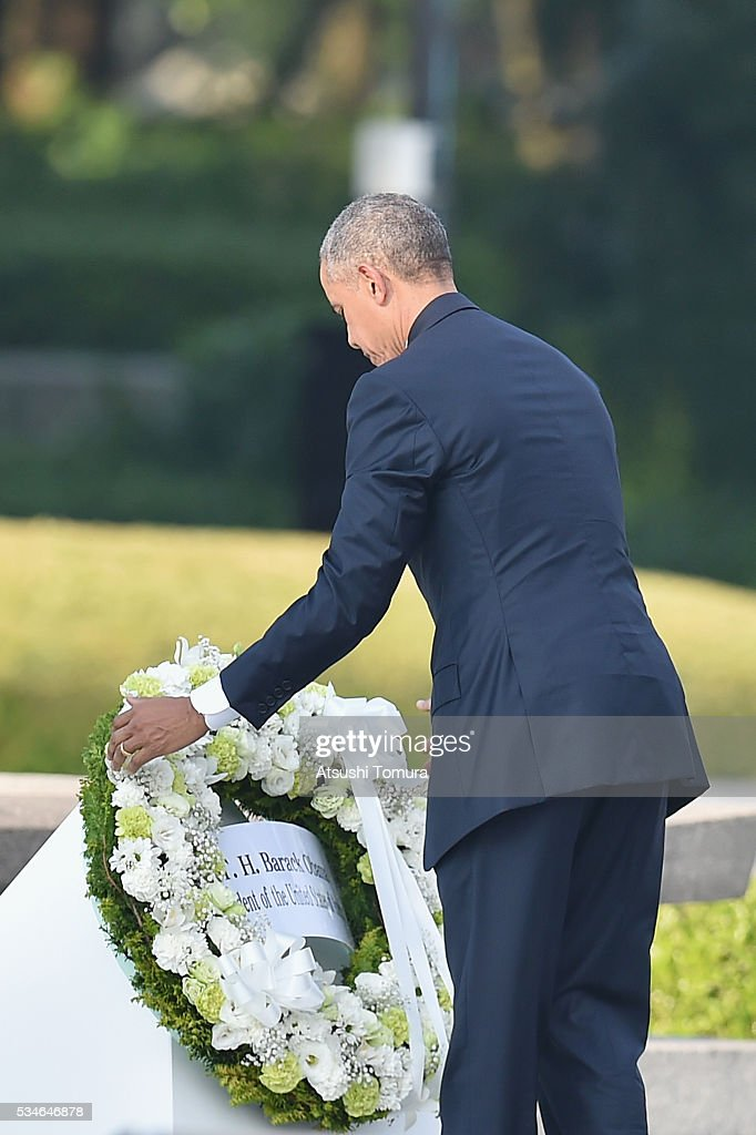 U.S. President <a gi-track='captionPersonalityLinkClicked' href=/galleries/search?phrase=Barack+Obama&family=editorial&specificpeople=203260 ng-click='$event.stopPropagation()'>Barack Obama</a> visits the Hiroshima Peace Memorial Park on May 27, 2016 in Hiroshima, Japan. It is the first time U.S. President makes an official visit to Hiroshima, the site where the atomic bomb was dropped in the end of World War II on August 6, 1945.