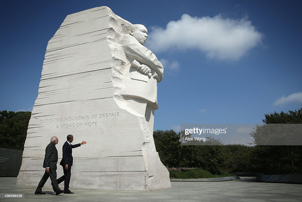 U.S. President <a gi-track='captionPersonalityLinkClicked' href=/galleries/search?phrase=Barack+Obama&family=editorial&specificpeople=203260 ng-click='$event.stopPropagation()'>Barack Obama</a> visits the Martin Luther King Memorial with Indian Prime Minister <a gi-track='captionPersonalityLinkClicked' href=/galleries/search?phrase=Narendra+Modi&family=editorial&specificpeople=822611 ng-click='$event.stopPropagation()'>Narendra Modi</a> after an Oval Office meeting at the White House September 30, 2014 in Washington, DC. The two leaders met to discuss the U.S.-India strategic partnership and mutual interest issues.