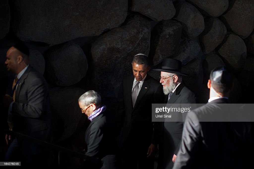 U.S. President Barack Obama walks alongside Rabbi Yisrael Meir Lau during his visit to the Yad Vashem Holocaust Memorial museum on March 22, 2013 in Jerusalem, Israel. This is Obama's first visit as president to the region and his itinerary includes meetings with the Palestinian and Israeli leaders as well as a visit to the Church of the Nativity in Bethlehem.