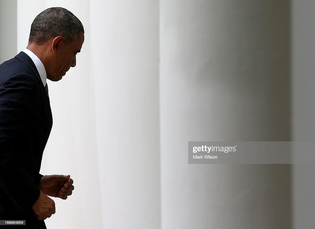 U.S. President <a gi-track='captionPersonalityLinkClicked' href=/galleries/search?phrase=Barack+Obama&family=editorial&specificpeople=203260 ng-click='$event.stopPropagation()'>Barack Obama</a> walks away after speaking to the media during a news conference with Prime Minister Recep Tayyip Erdogan of Turkey (not shown), in the Rose Garden at the White House, May 16, 2013 in Washington, DC. President Obama answered questions on the IRS Justice Department invesigation and talked about the situation with Syria.