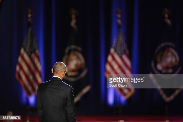 President Barack Obama walks away from the lectern following his farewell speech to the nation on January 10 2017 in Chicago Illinois Presidentelect...