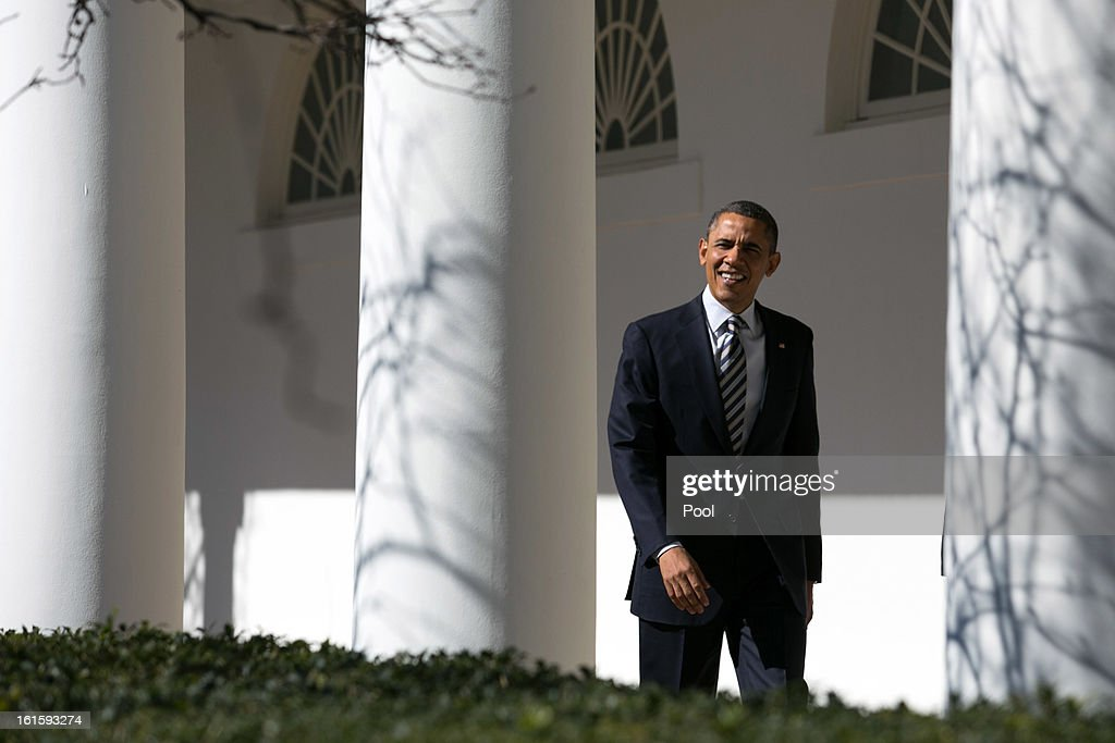 U.S. President <a gi-track='captionPersonalityLinkClicked' href=/galleries/search?phrase=Barack+Obama&family=editorial&specificpeople=203260 ng-click='$event.stopPropagation()'>Barack Obama</a> walks down the colonnade at the White House February 12, 2013 in Washington, DC. Later this evening, the President will deliver his State of the Union address at the U.S. Capitol.