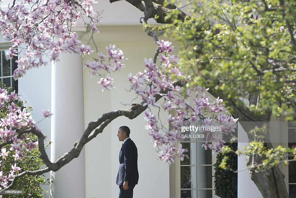 US President Barack Obama walks from the Oval Office to the South Lawn of the White House in Washington, DC, April 8, 2013, prior to departing on Marine One. Obama is traveling to Connecticut to speak on gun control. AFP PHOTO / Saul LOEB