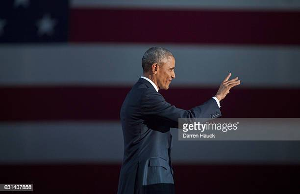 S President Barack Obama walks on stage to deliver his farewell speech at McCormick Place on January 10 2017 in Chicago Illinois Obama addressed the...