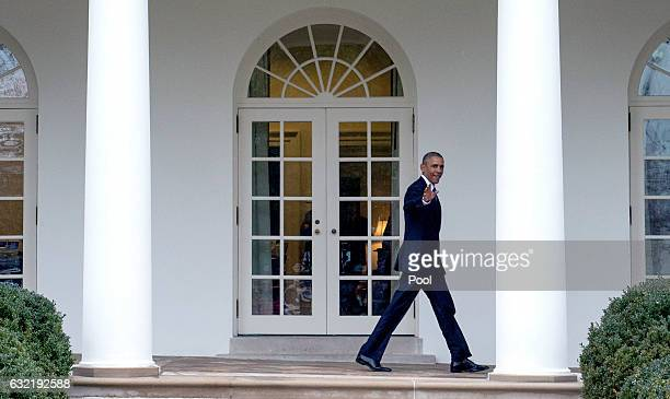 S President Barack Obama walks on the colonnade after leaving the Oval Office for the last time as President in Washington DC on January 20 2017...