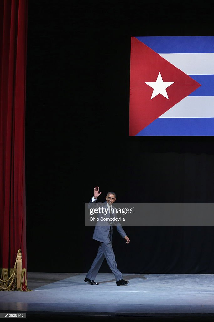 U.S. President Barack Obama walks onto stage before delivering remarks at the Gran Teatro de la Habana Alicia Alonso in the hisoric Habana Vieja, or Old Havana, neighborhood March 22, 2016 in Havana, Cuba. Described as a message to the Cuban people about his vision for the future of Cuba, Obama's speech will be nationally televised to the 11 million people on the communist-controlled island.