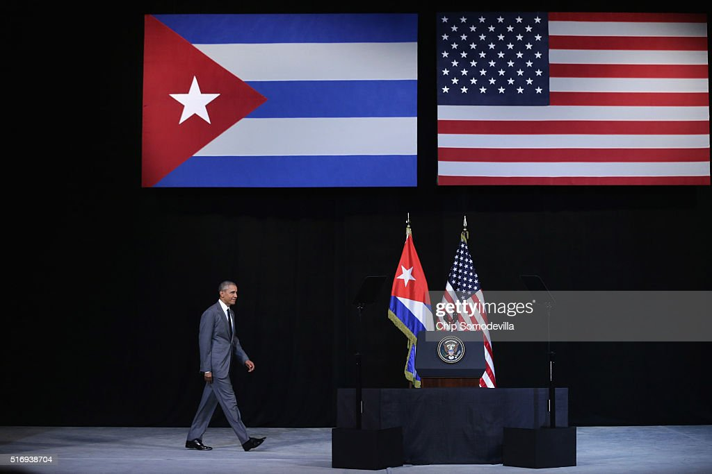 S President Barack Obama walks onto stage before delivering remarks at the Gran Teatro de la Habana Alicia Alonso in the hisoric Habana Vieja or Old...