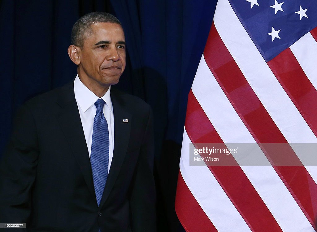U.S. President <a gi-track='captionPersonalityLinkClicked' href=/galleries/search?phrase=Barack+Obama&family=editorial&specificpeople=203260 ng-click='$event.stopPropagation()'>Barack Obama</a> walks out to speak about the National Security Agency (NSA) at the Justice Department, on January 17, 2014 in Washington, DC. President Obama outlined new changes to the agency's most controversial surveillance practices.