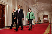 President Barack Obama walks out with his choice for Supreme Court Justice Solicitor General Elena Kagan right and Vice President Joe Biden center...